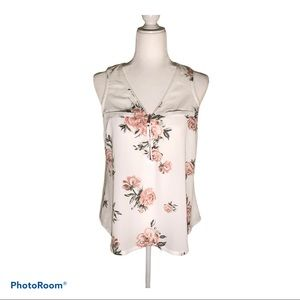 Candie's Floral Zip Front Sleeveless Blouse Size M